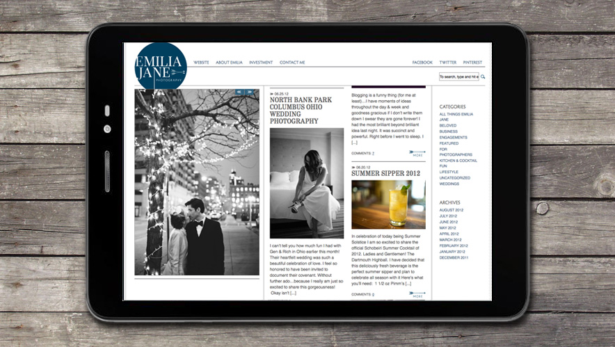 Emilia Jane Website Design