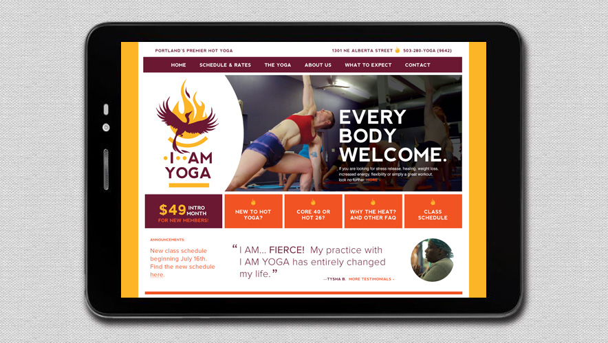I Am Yoga Website Concept