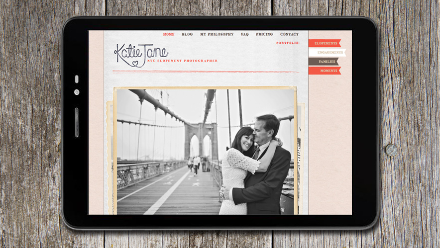 Katie Jane Photography Web Design
